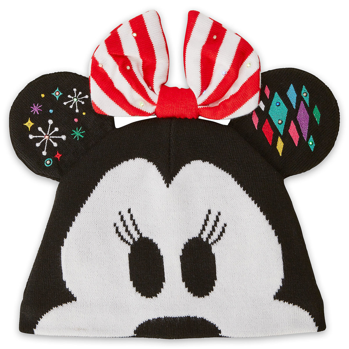 minnie mouse light up knit holiday ear hat for adults shopdisney