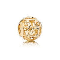 Image of Mickey Mouse Gold Swirl Charm by PANDORA # 1