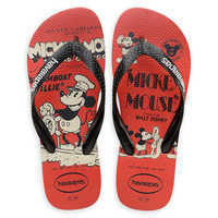 Image of Mickey Mouse Steamboat Willie Flip Flops for Adults by Havaianas - 1920s # 1