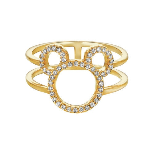 Mickey Mouse Open Icon Ring by CRISLU Gold