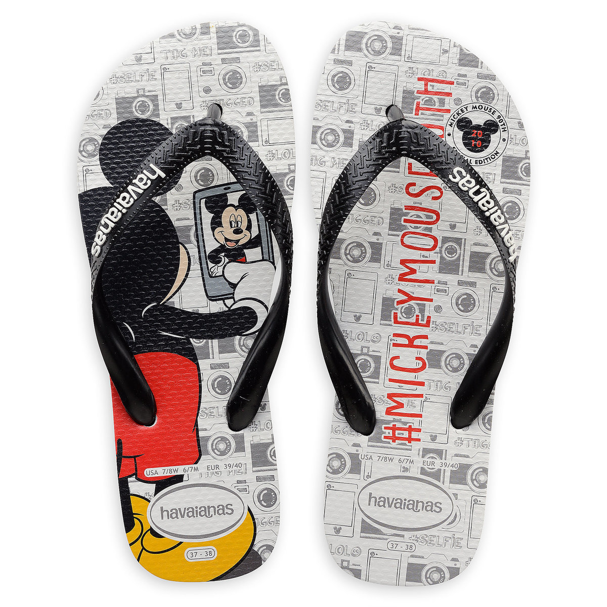 bad381a18 Product Image of Mickey Mouse Selfie Flip Flops for Adults by Havaianas -  2010s   1