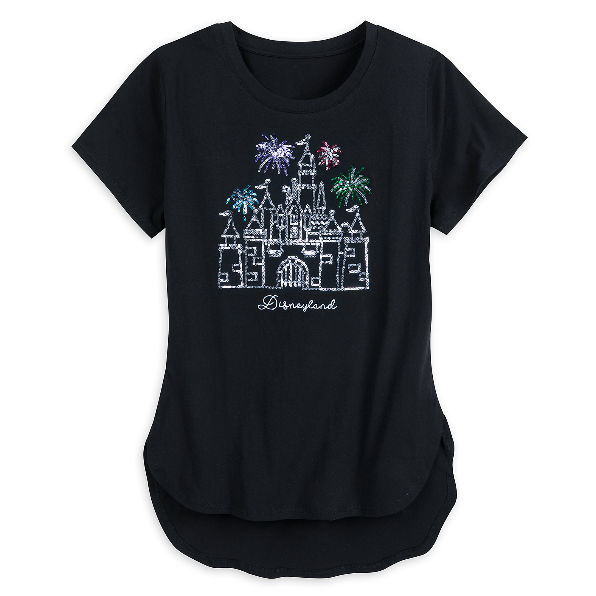 Sleeping Beauty Castle Sequined Fashion T-Shirt for Women - Disneyland