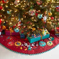 Image of Mickey and Minnie Mouse Holiday Tree Skirt - Personalizable # 3