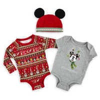 Image of Mickey Mouse Holiday Bodysuit Set for Baby - Walt Disney World # 1