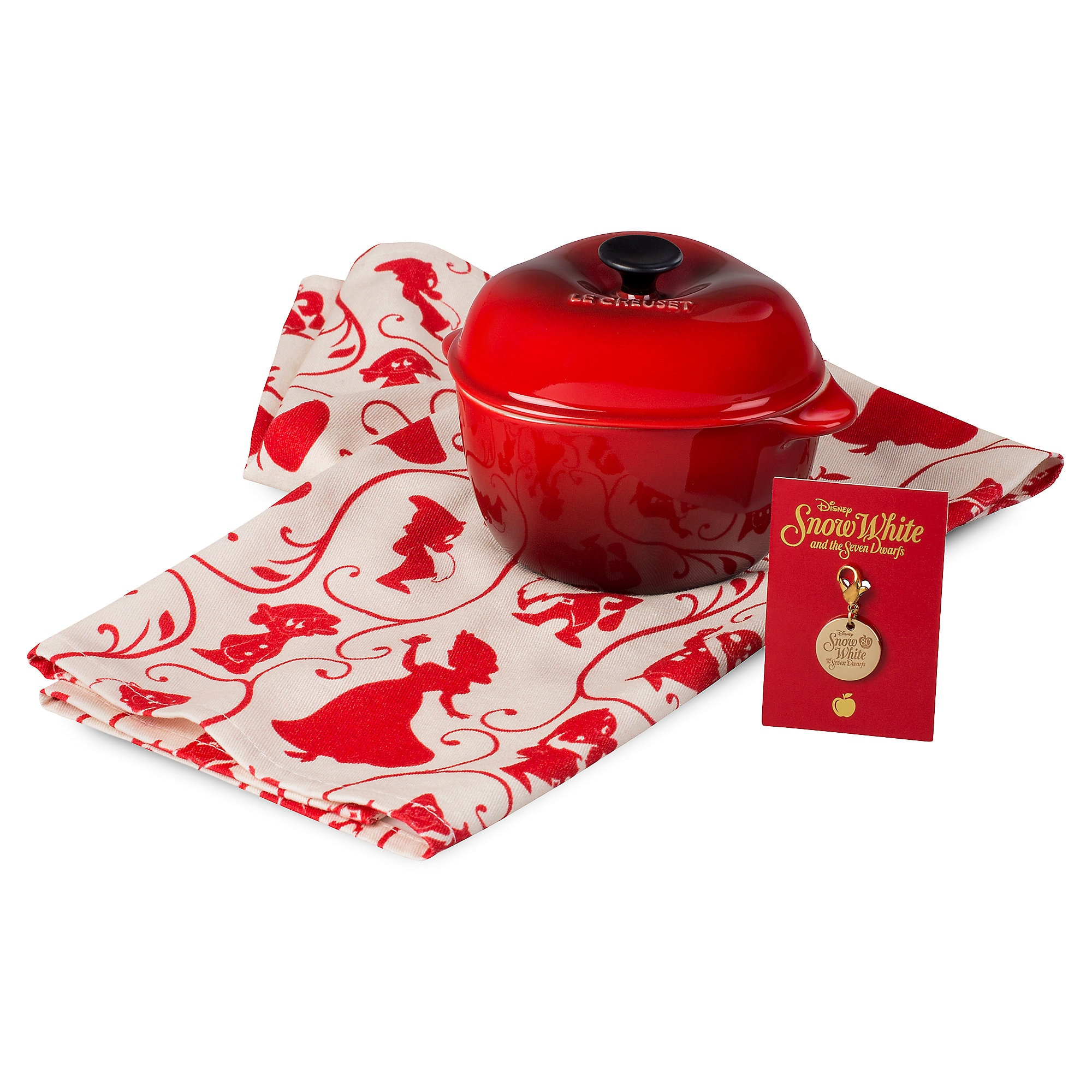 Snow White Apple Cocotte with Collector's Charm and Kitchen Towel Set by Le Creuset - Small