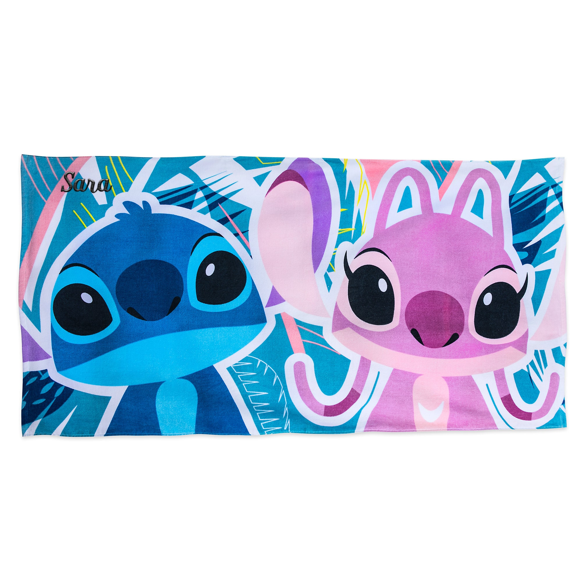 Stitch And Angel Beach Towel   Personalizable