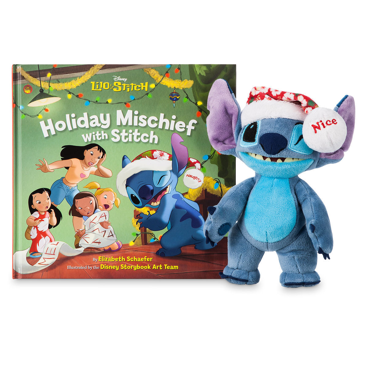 Product Image of Stitch Poseable Plush and ''Holiday Mischief with Stitch'' Book Set # 1