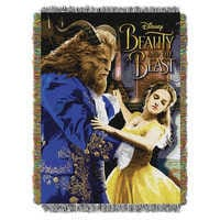 Image of Beauty and the Beast Woven Tapestry Throw # 1