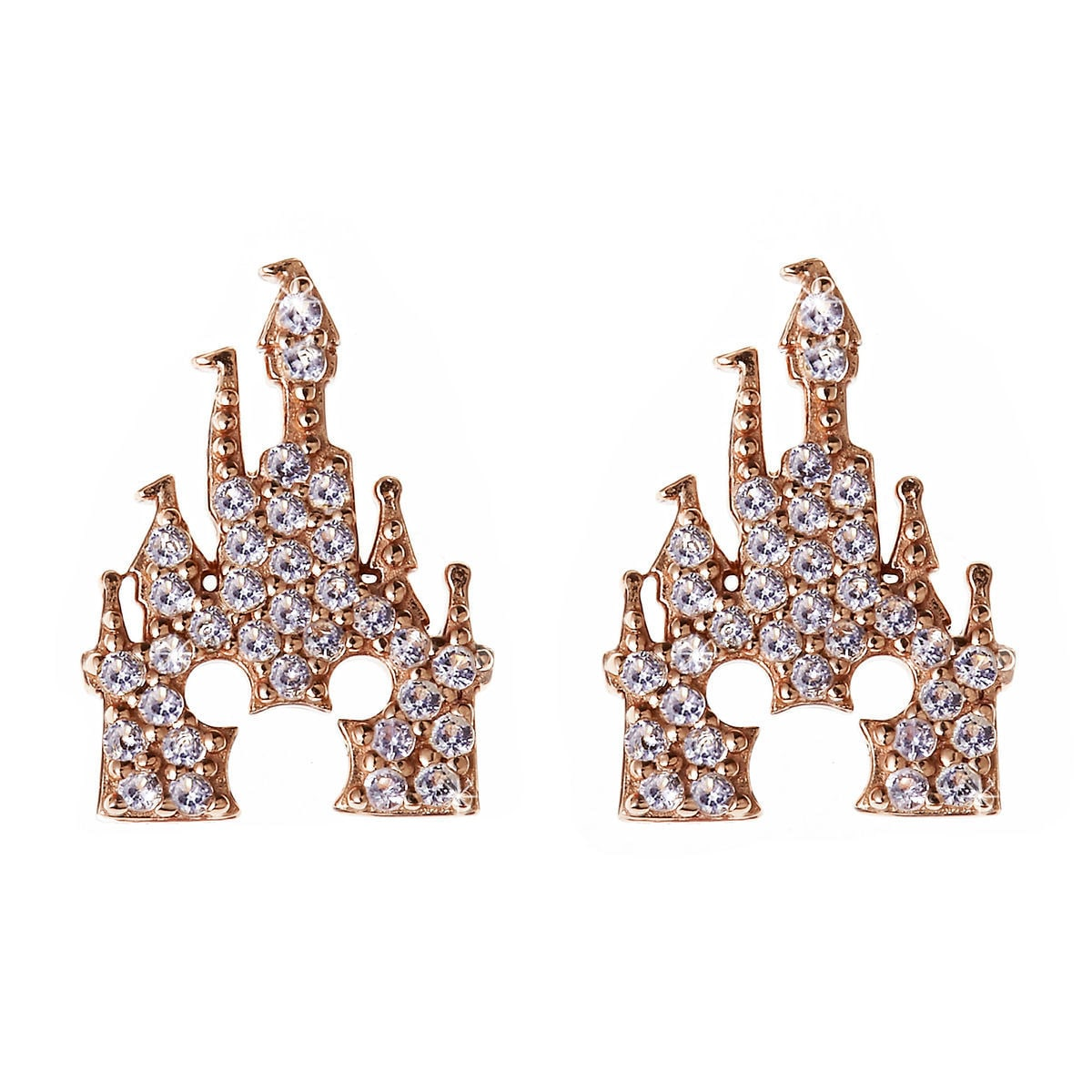 Product Image Of Mickey Mouse Rose Gold Castle Earrings Rebecca Hook 1