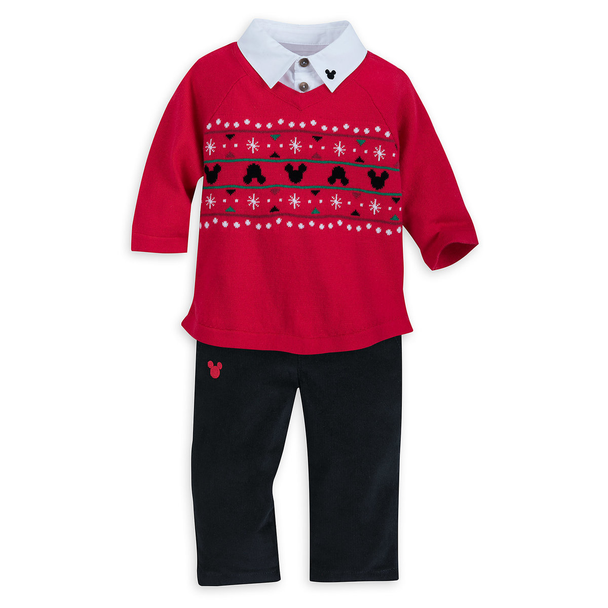 01921416a Product Image of Santa Mickey Mouse Sweater and Pants Set for Baby # 1