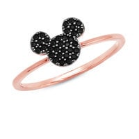 Mickey Mouse Black Pave Icon Ring by CRISLU - Rose Gold