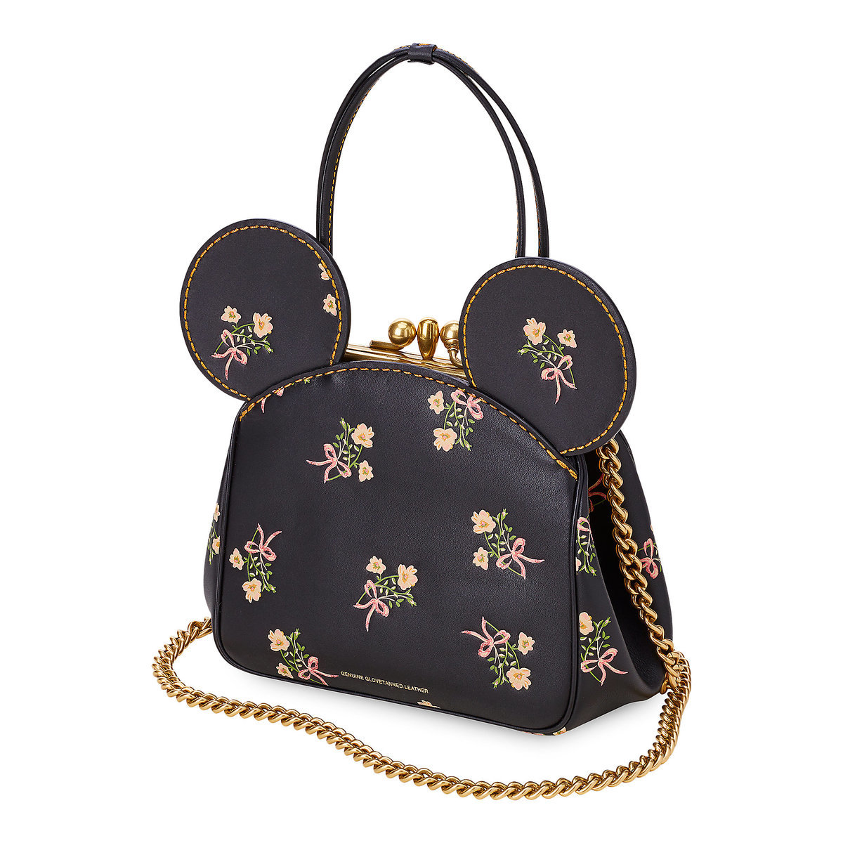 f5fc401e7 Product Image of Minnie Mouse Floral Kisslock Leather Bag by COACH - Black  # 1