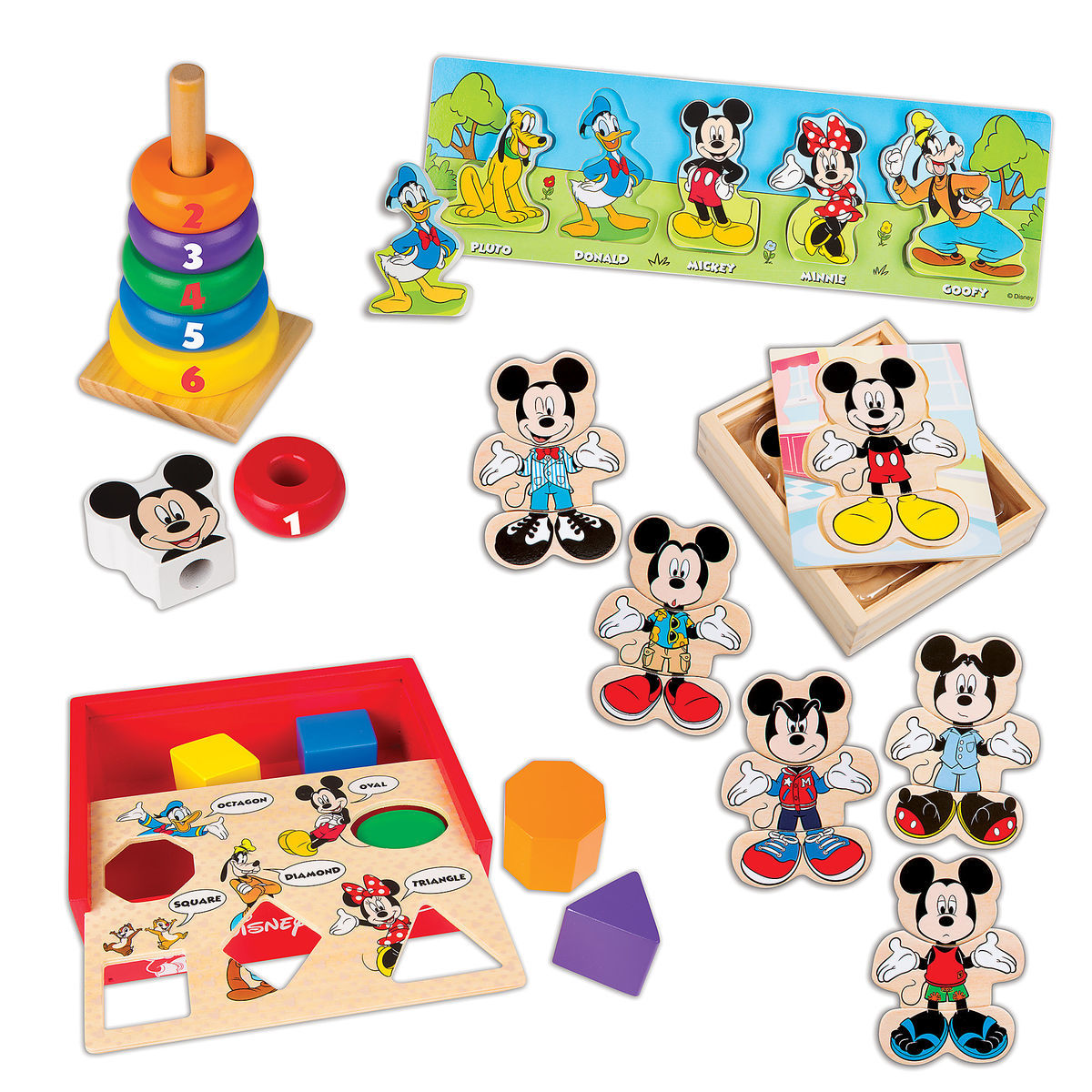 Product Image Of Mickey Mouse Deluxe Wooden Classic Toy Set By Melissa Doug 1