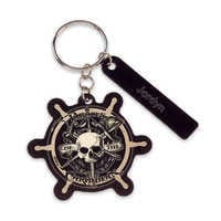 Image of Pirates of the Caribbean Ship's Wheel Leather Keychain - Personalizable # 1