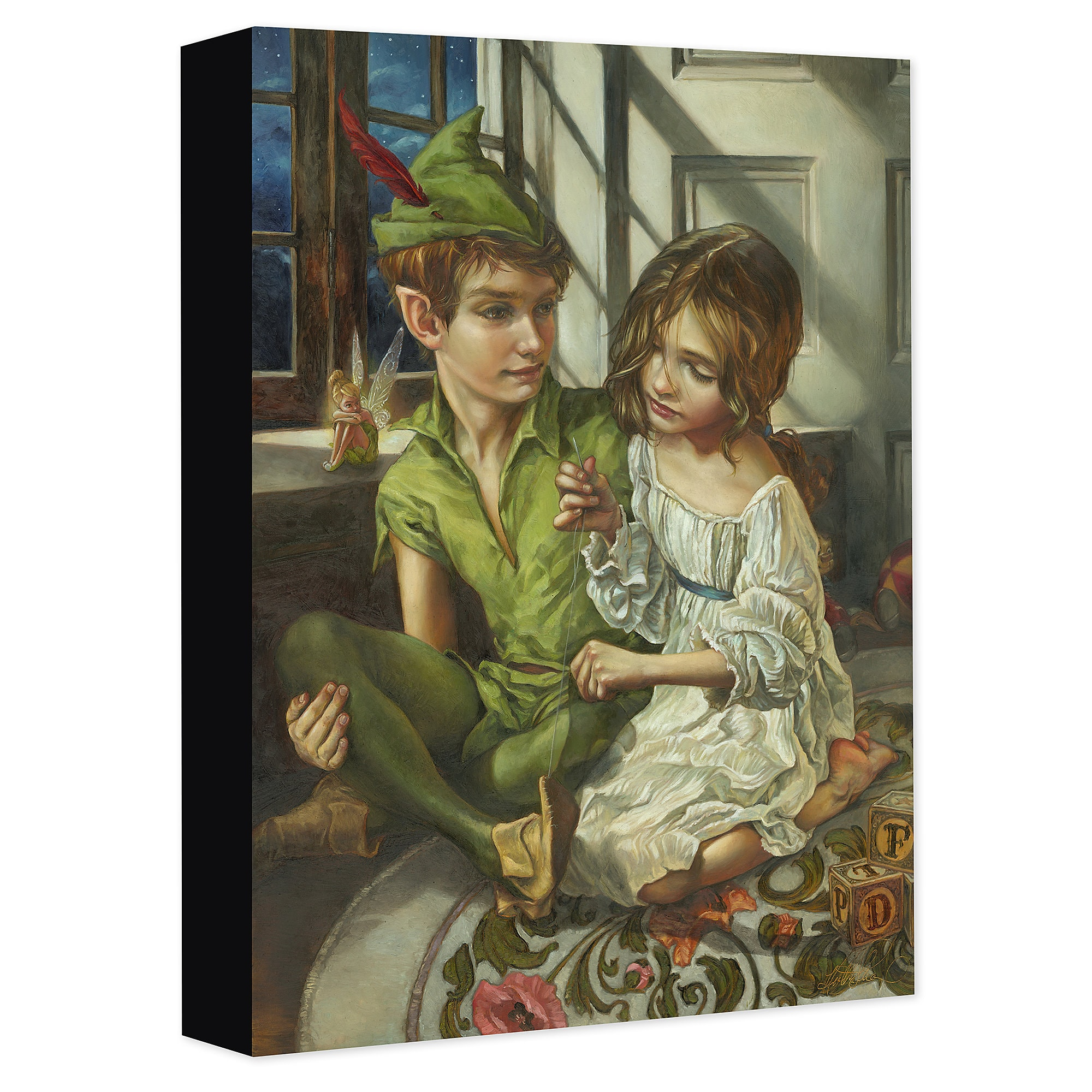 Peter Pan and Wendy ''Sewn to His Shadow'' Giclée on Canvas by Heather Theurer