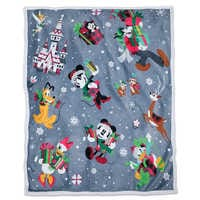 Image of Santa Mickey Mouse and Friends Reversible Throw # 1