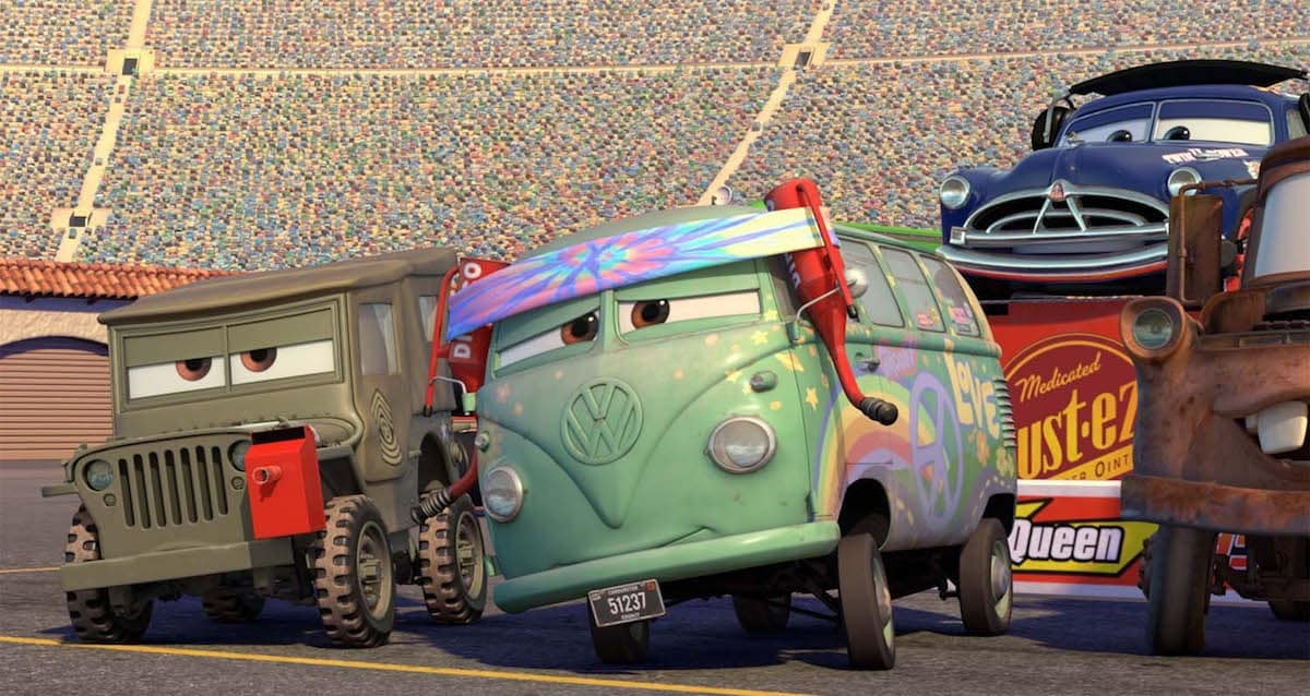 """Fillmore and Sarge from the movies """"Cars"""" and """"Cars 3"""""""