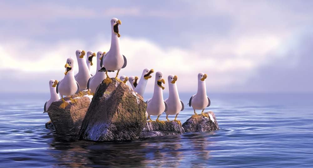 """Seagulls chirping """"mine"""" in the animated movie """"Finding Nemo"""""""