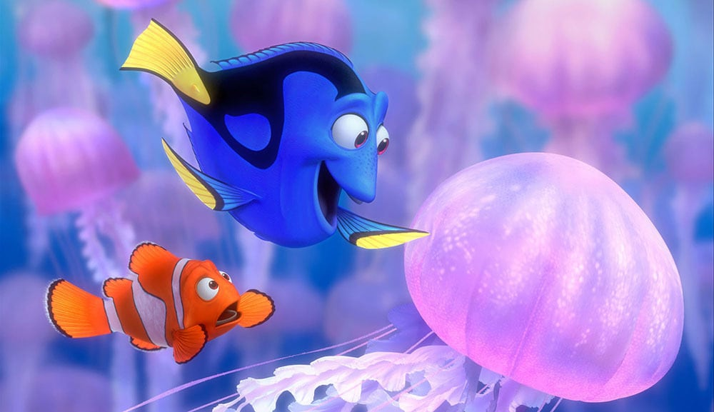 "Dori and Nemo looking at a jellyfish in the movie ""Finding Nemo"""