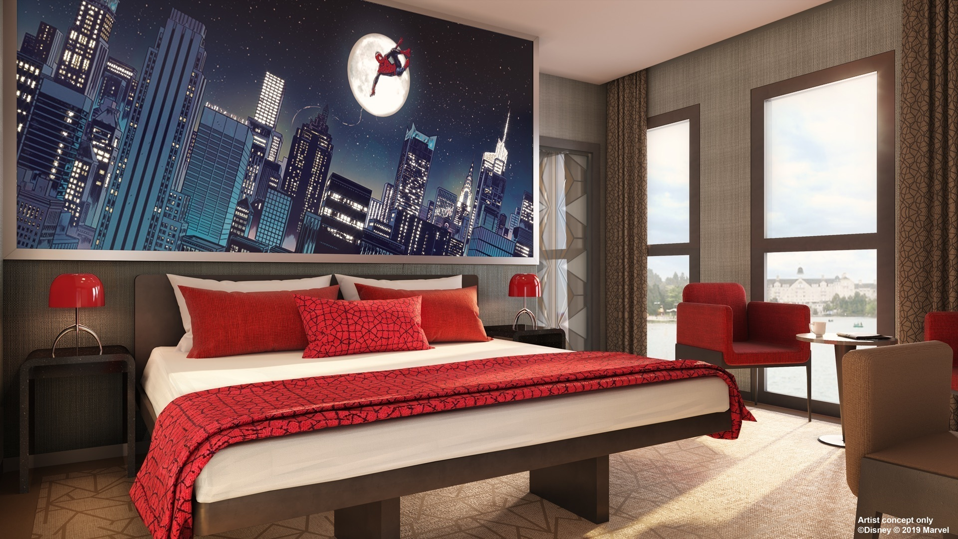 stanza del nuovo Disney's Hotel New York – The Art of Marvel a Disneyland Paris