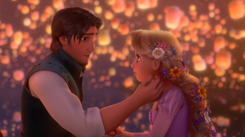 "Animated characters Flynn Rider and Rapunzel from the film ""Rapunzel"""