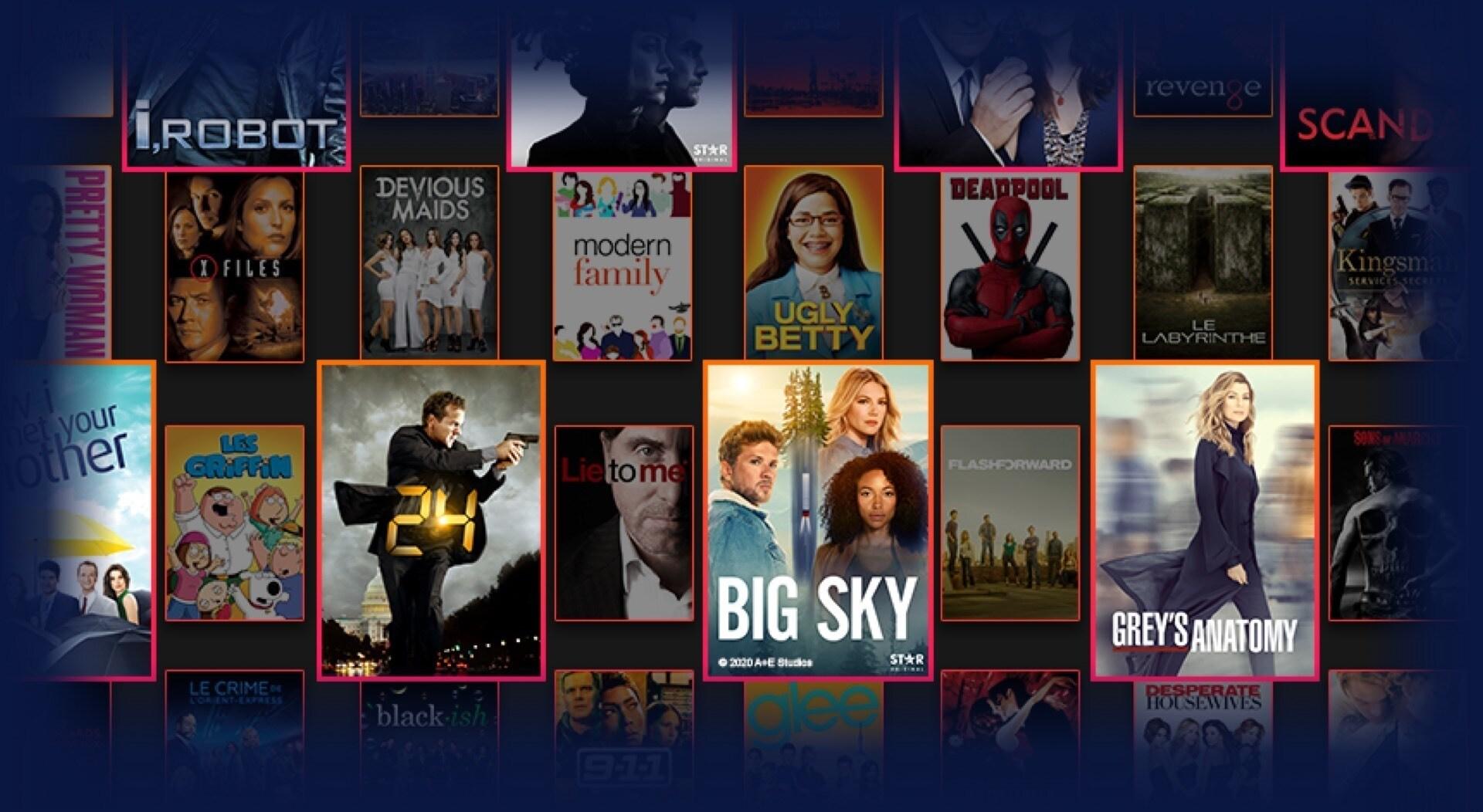 Logos et visuels d'une large sélection de titres Star disponibles sur Disney+.