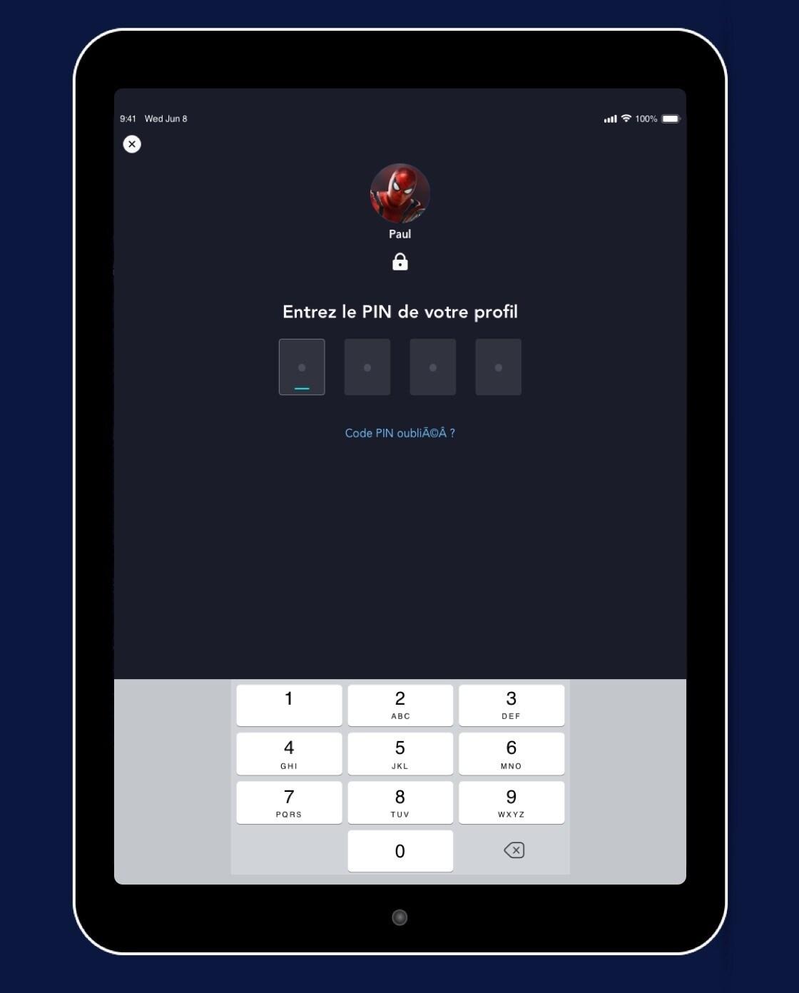 L'écran du code PIN de Disney+ dans les paramètres du profil