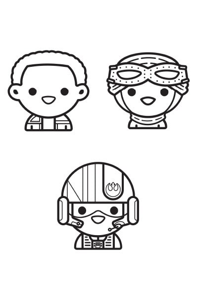 Coloriage Star Wars : pilotes emoji