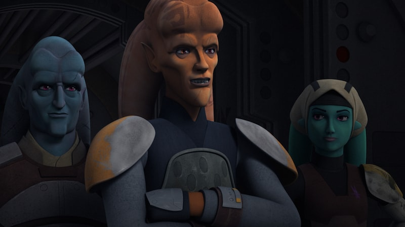 Cham Syndulla and an entourage of Twi'lek rebels