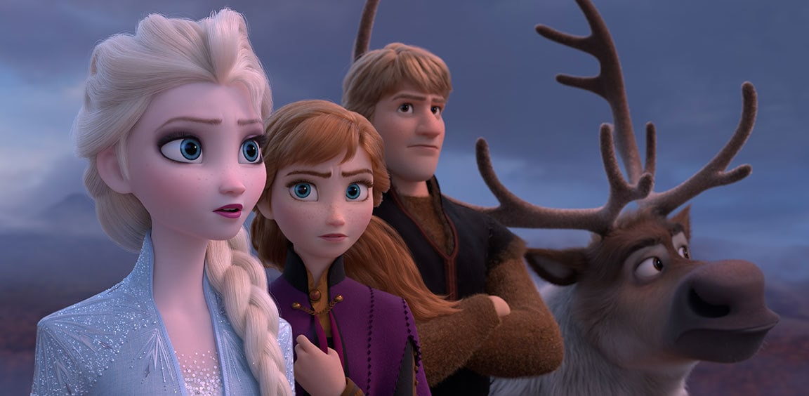 Close-up of Elsa, Anna, Kristoff and Sven