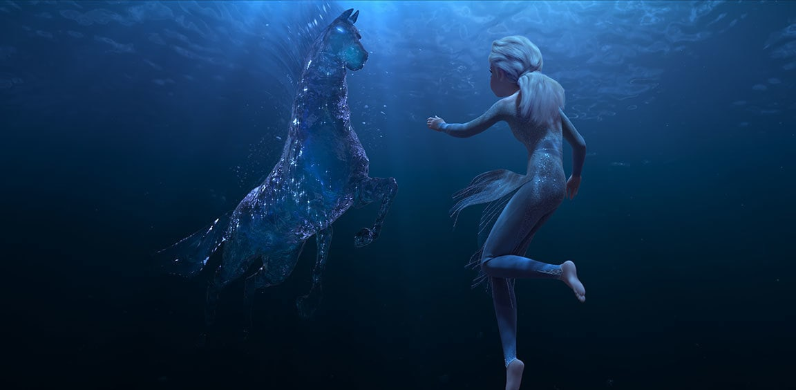 Elsa and the Nokk looking at each other underwater