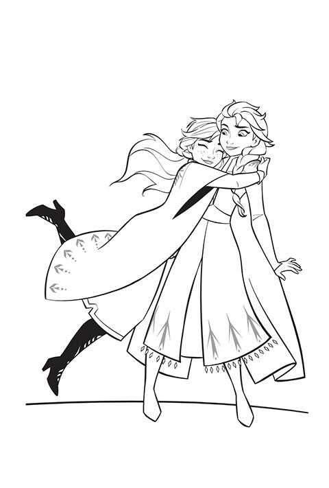Coloreable - Anna y Elsa