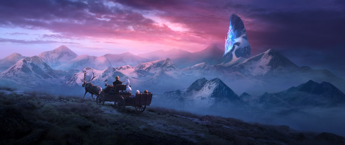 Scene from Frozen two - group traveling in a wagon being pulled by Sven
