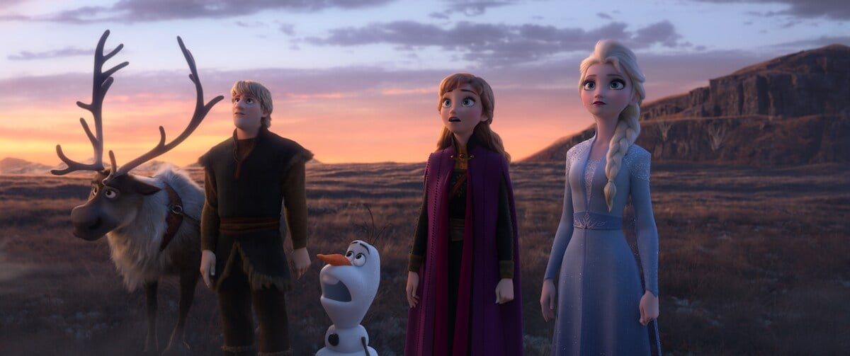 Scene from Frozen 2 - Sven, Kristoff, Olaf, Anna and Elsa - from left to right