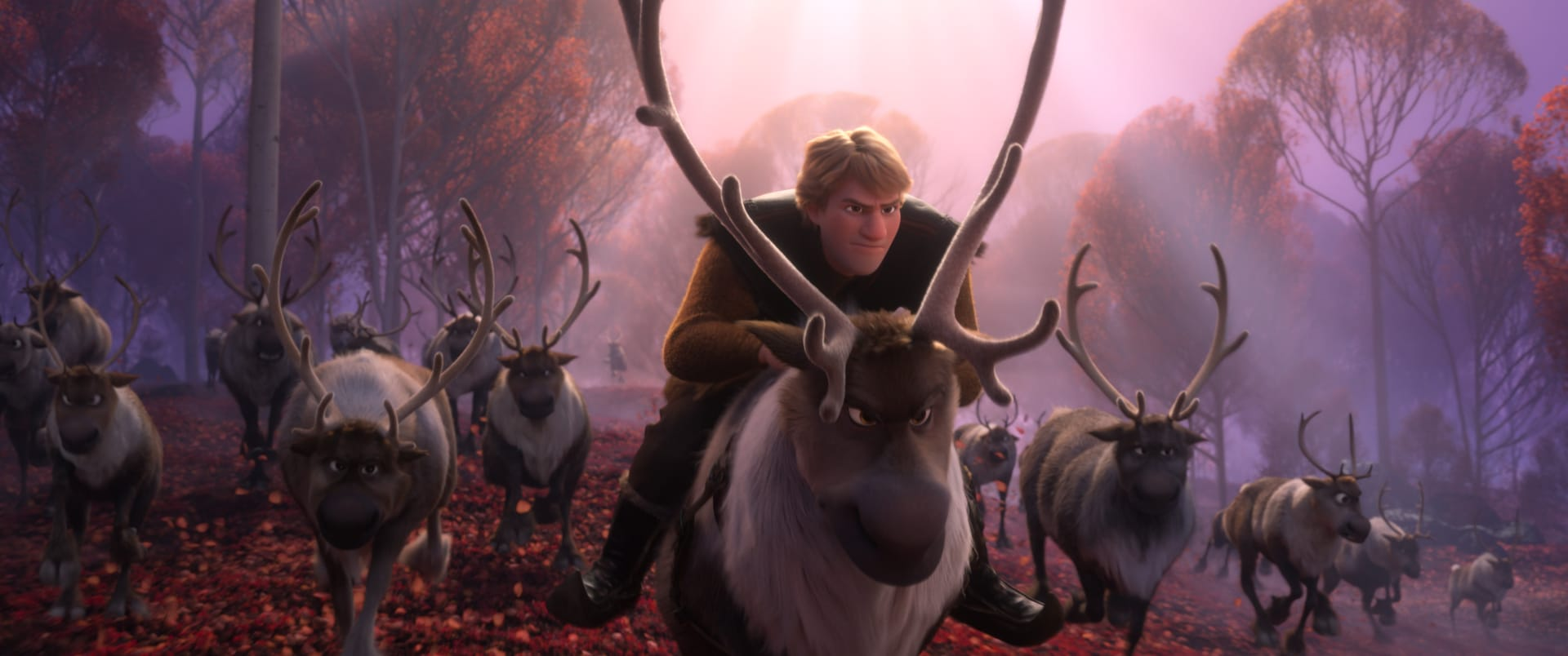 Kristoff riding on a reindeer amongst a herd reindeer