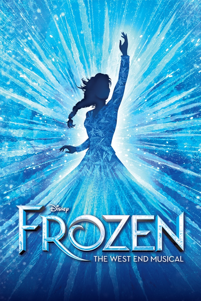 Frozen The West End musical poster with Elsa silhouette