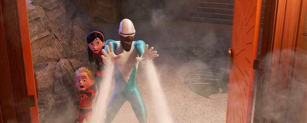 Frozone using his ice powers in front of Dash and Violet