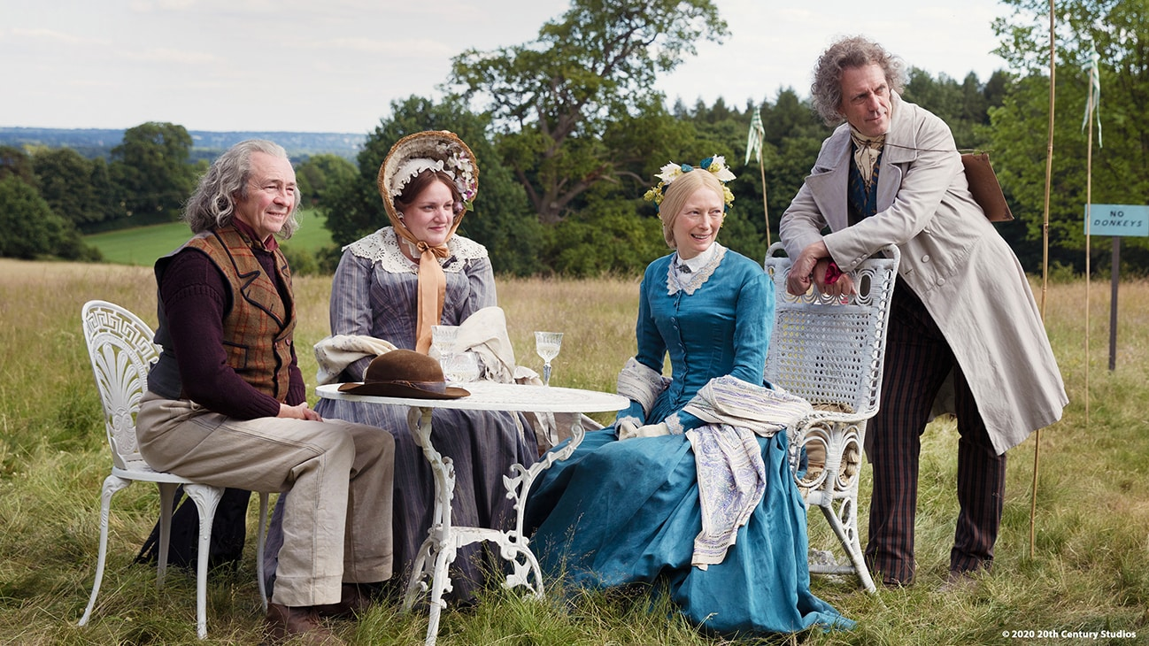 "Actors Paul Whitehouse, Daisy May Cooper, Morfydd Clark, and Peter Capaldi in the movie ""The Personal History of David Copperfield"""