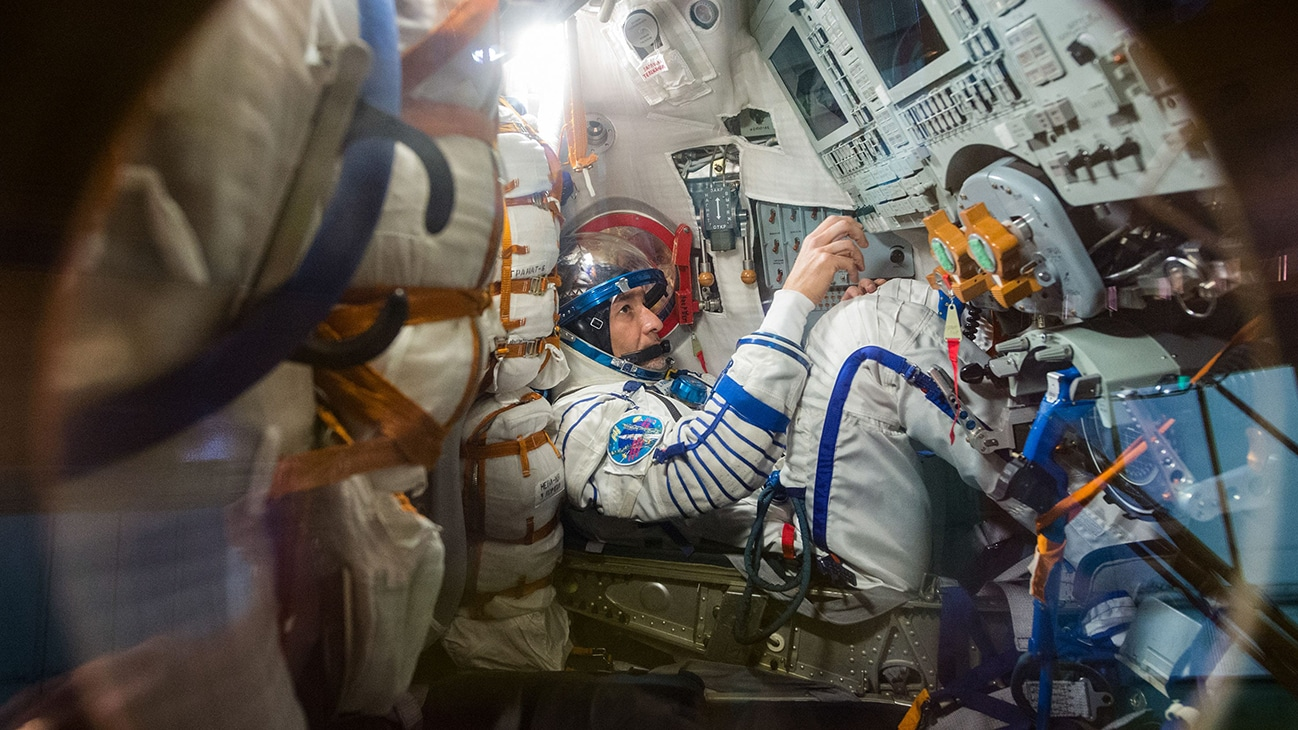 AMONG THE STARS - (July 5, 2019) - At the Baikonur Cosmodrome in Kazakhstan, Expedition 60 crewmember Luca Parmitano of the European Space Agency works procedures inside his Soyuz spacecraft July 5 as part of pre-launch activities.Parmitano, Drew Morgan of NASA and Alexander Skvortsov of Roscosmos will launch July 20 on the Soyuz MS-13 spacecraft from the Baikonur Cosmodrome for a mission on the International Space Station. (Andrey Shelepin/GCTC)  LUCA PARMITANO