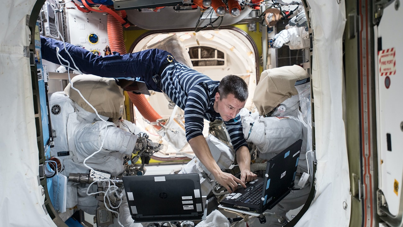 AMONG THE STARS - NASA astronaut Andrew Morgan reviews procedures the day before the EVA that took place on Oct. 6 to upgrade the space station's batteries. (NASA)  ANDREW MORGAN