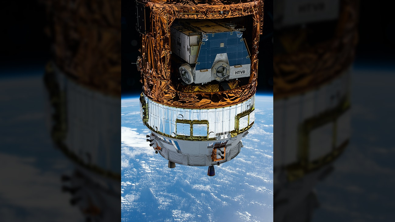 AMONG THE STARS - (June 13, 2020) - Japan's H-II Transfer Vehicle-9 (HTV-9) contains the HTV-8 pallet holding old nickel-hydrogen batteries removed from the station during previous spacewalks. The International Space Station was orbiting above the Pacific Ocean halfway between Hawaii and California when this photograph was taken by an Expedition 63 crew member.  (NASA)