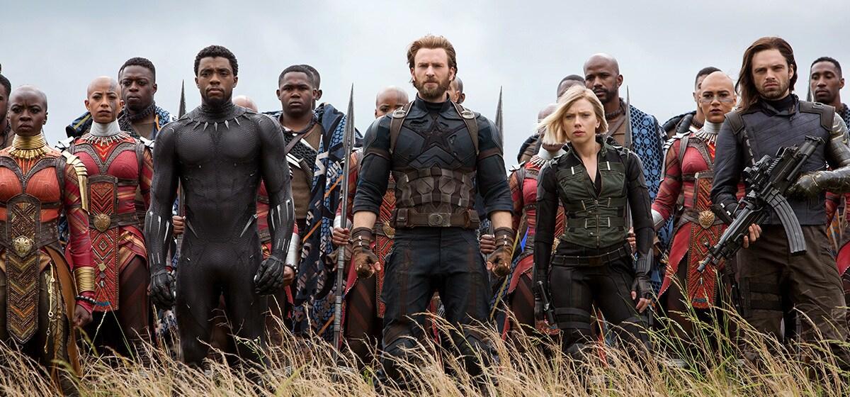 Danai Gurira as Okoye, Chadwick Boseman as Black Panther, Chris Evans as Captain America, Scarlett Johansson as Black Widow, and Sebastian Stan as Winter Soldier ready for action in Avenergs: Infinity War