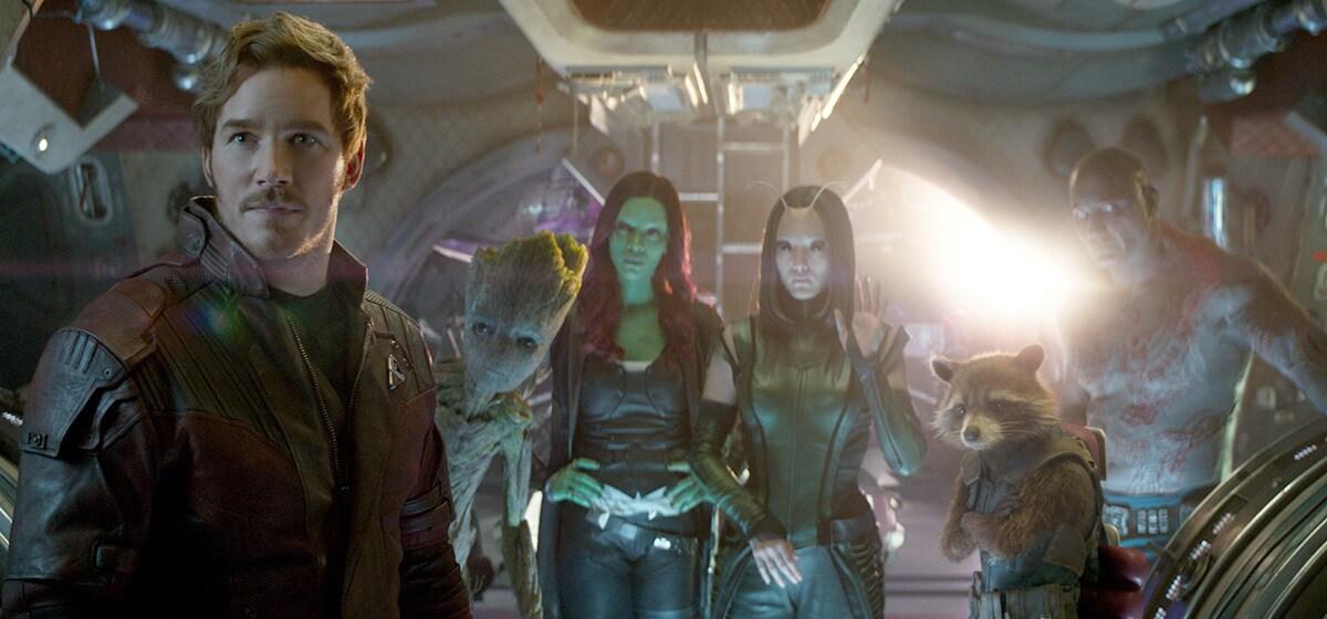 Chris Pratt as Star-Lord, Zoe Saldana as Gamora, Pom Klementieff as Mantis, and Bradley Cooper as Rocket  in Avenergs: Infinity War