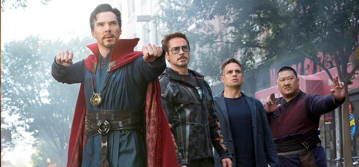 Benedict Cumberbatch as Dr. Strange, Robert Downey Jr. as Iron-Man, Mark Ruffalo as Hulk, and Benedict Wong as Wong in Avenergs: Infinity War