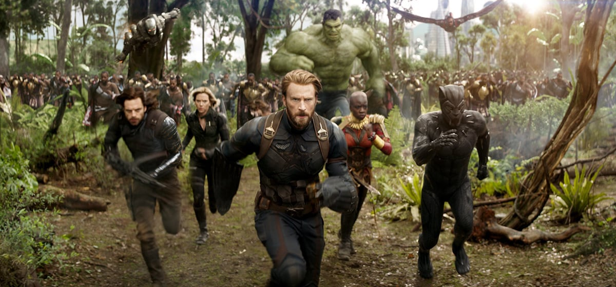 Sebastian Stan as Winter Soldier, Scarlett Johansson as Black Widow, Chris Evans as Captain America, Mark Ruffalo as Hulk, Danai Gurira as Okoye, Chadwick Boseman as Black Panther running in Avenergs: Infinity War