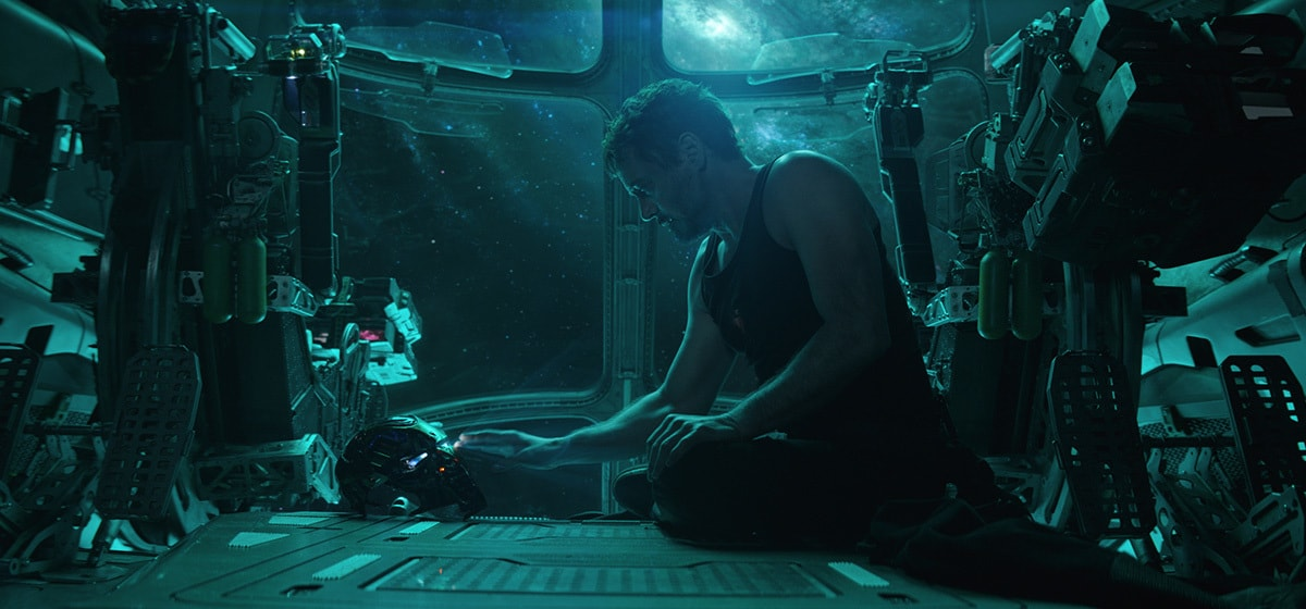 Robert Downey Jr., who plays Iron Man/Tony Stark in Avengers: Endgame, touching his Iron Man mask while in outer space