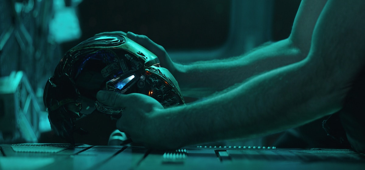 Iron Man's helmet on a console in Avengers: Endgame