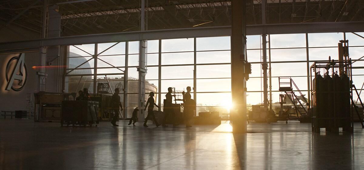 Hawkeye/Clint Barton (Jeremy Renner), War Machine/James Rhodes (Don Cheadle), Ant-Man/Scott Lang (Paul Rudd), Rocket (voiced by Bradley Cooper), Black Widow/Natasha Romanoff (Scarlet Johansson), Thor (Chris Hemsworth) and Captain America/Steve Rogers (Chris Evans) in Avengers Hanger