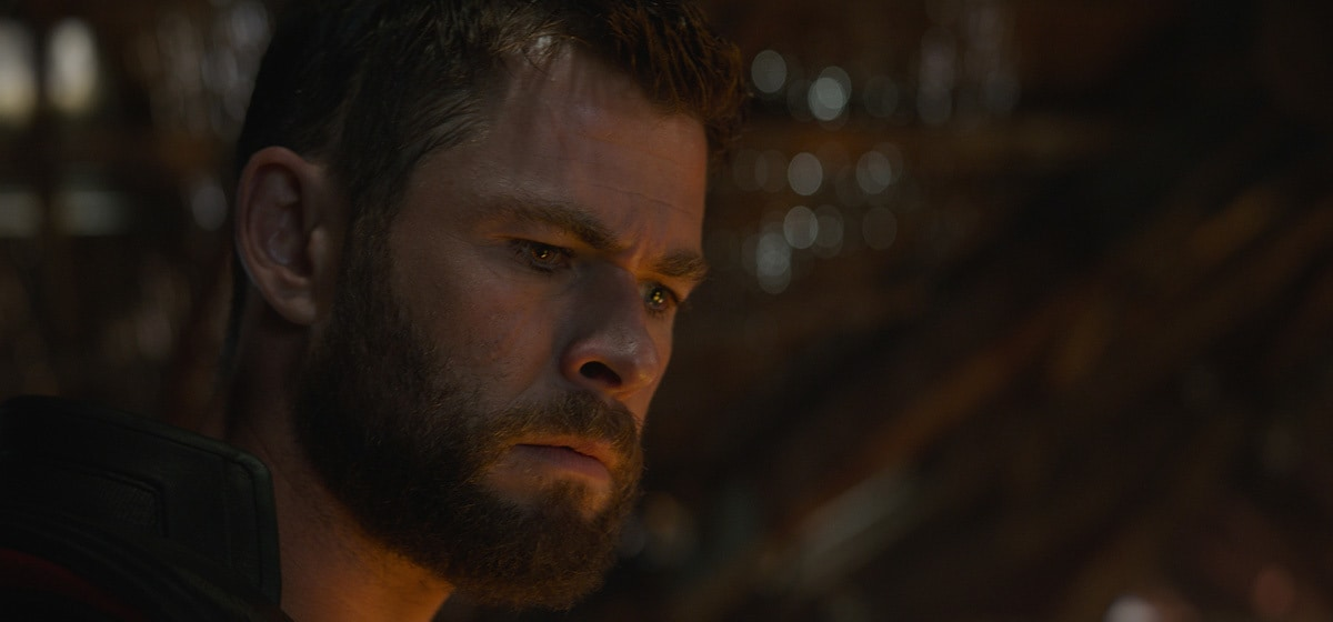 Chris Hemsworth, who plays Thor, looking sternly in Avenger's Endgame