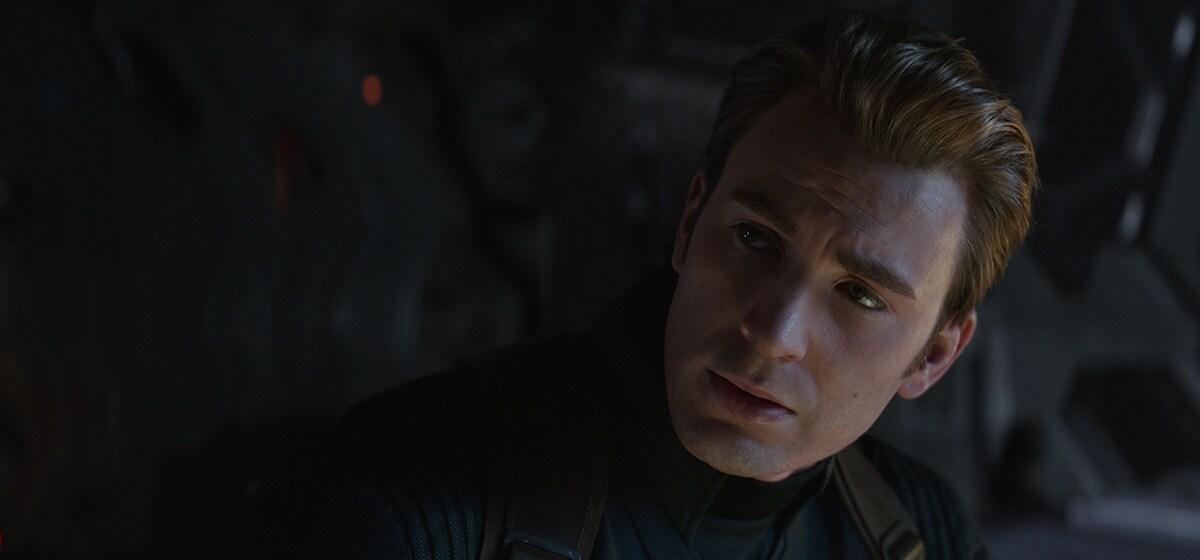 Chris Evans as Steve Rogers/Captain America looking stoicly in Avenger's Endgame